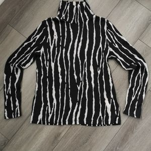 100% wool zebra print turtleneck sweater